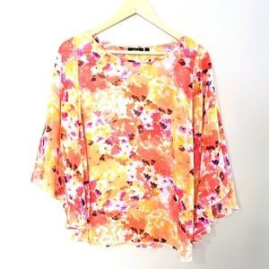 Apt. 9 Sheer Small Butterfly Wing Bright Print Top